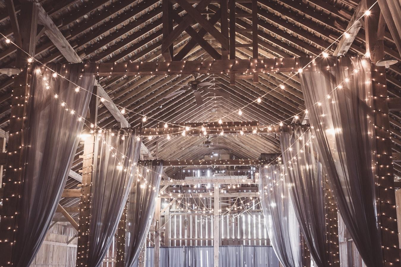 wedding barn lights.