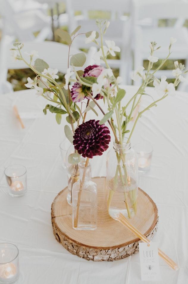 flowers in glass vase.